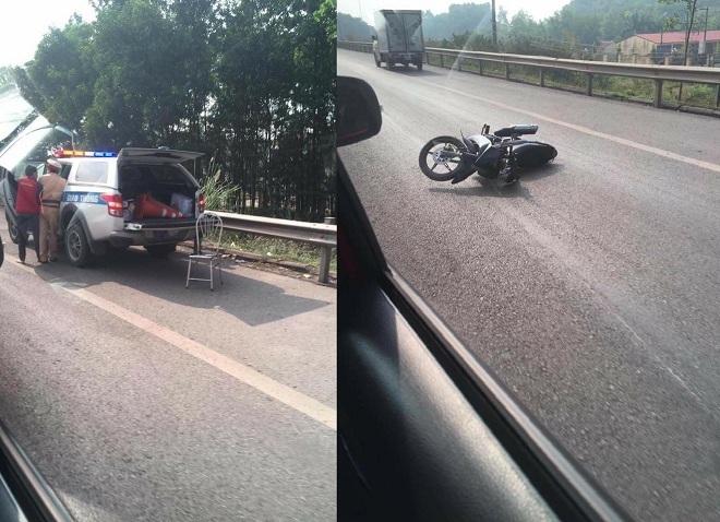 Chiến sĩ CSGT bị xe máy tông trên cao tốc đã tử vong vào 17h chiều nay
