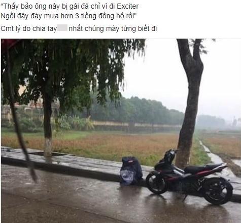 Chàng trai khóc dưới mưa 3 tiếng sau khi bạn gái bỏ vì đi xe số7