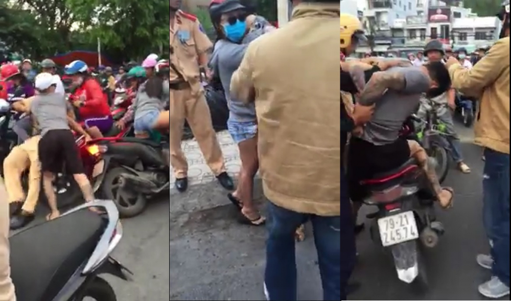Nam thanh niên rút dạo tấn công CSGT ngay giữa phố