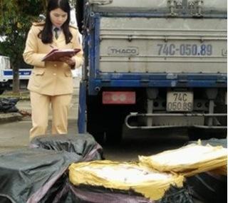Kiểm tra xe vi phạm giao thông phát hiện 200kg thịt lợn bốc mùi