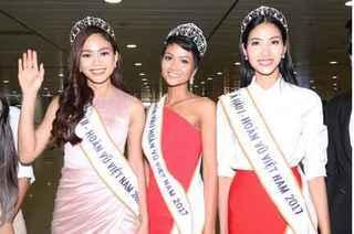 Hoa hậu H'Hen Niê và hai Á hậu rạng rỡ tại sân bay Tân Sơn Nhất