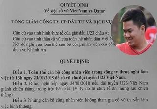 Giám đốc tâm lý nhất hệ Mặt trời: Cho nhân viên nghỉ làm để xem đội tuyển U23 Việt Nam thi đấu!