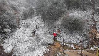Nhiệt độ giảm thấp, tuyết rơi trắng xóa ở Sa Pa