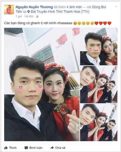 , Huyền Thương đã đăng tải những bức ảnh chụp chung với thủ môn Bùi Tiến Dũng