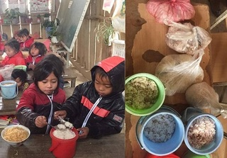 Cận Tết, học sinh vùng cao ăn cơm trộn mì tôm ngon lành khiến nhiều người cay khóe mắt