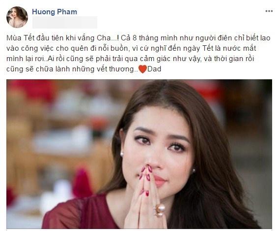 Hoa hậu Phạm Hương rơi nước mắt vì Tết đầu tiên vắng cha