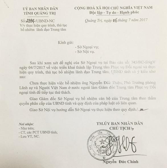 Chủ tịch tỉnh Quảng Trị: Tôi ký quyết định chưa bổ nhiệm con trai 1