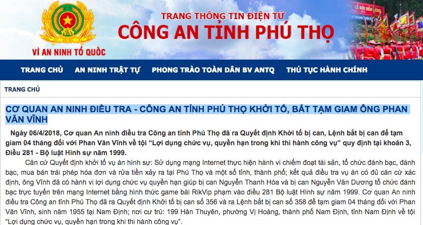 Công an Phú Thọ thông tin vi phạm cựu trung tướng Phan Văn Vĩnh