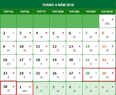 Dịp lễ 30/4 và 1/5 năm 2018 nghỉ bao nhiêu ngày?