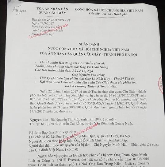 Báo Gia đình Việt Nam kháng cáo phán quyết của TAND Cầu Giấy