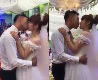 Clip cô dâu, chú rể hôn nhau không dứt gần 3 phút trong đám cưới gây tranh cãi
