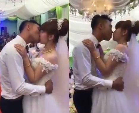 Clip cô dâu, chú rể hôn nhau không dứt gần 3 phút trong đám cưới