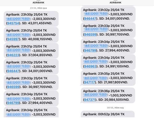 Hàng loạt tài khoản Agribank bị rút trộm tiền trong đêm