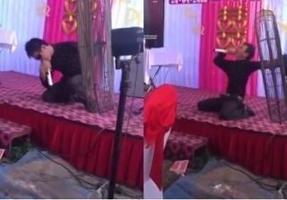 Cười 'bể bụng' với clip thanh niên quằn quại hát 'Xin lỗi tình yêu' trong đám cưới