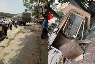 Hải Phòng: Xe tải va chạm với xe máy, húc đổ bốt giao thông khiến một người tử vong