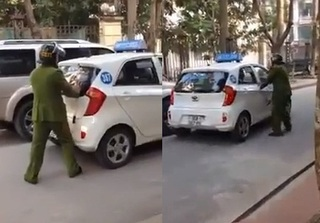Clip: Bị yêu cầu dừng xe, tài xế taxi cố tình lùi xe vào CSTT rồi phóng xe bỏ chạy