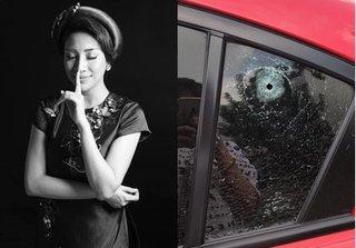 Ca sĩ Pha Lê bị kẻ xấu đục thủng kính xe hơi lấy trộm đồ