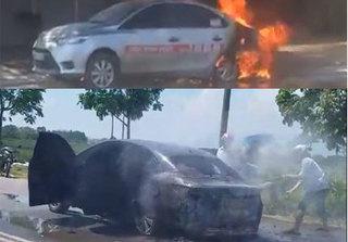 Vĩnh Phúc: Hai xe ô tô bốc cháy nghi do bị rơm quấn vào gầm