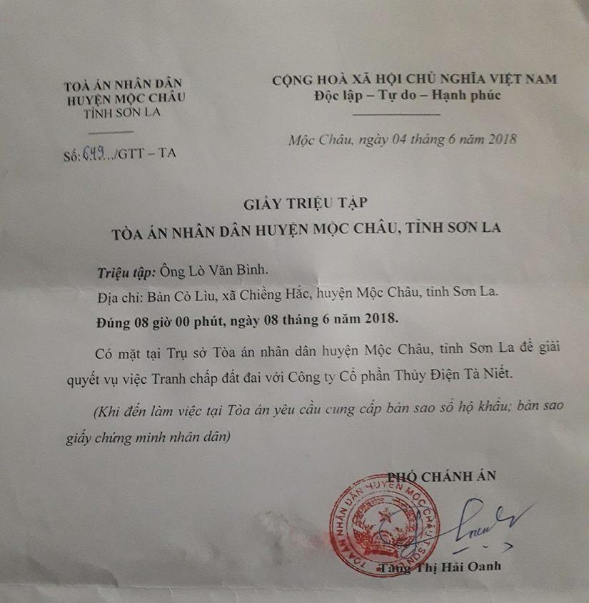 Phó Chánh án TAND huyện Mộc Châu triệu tập người đã mất lên giải quyết tranh chấp đất
