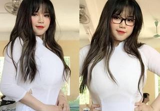 Nữ sinh Hải Dương sở hữu vòng 1 'khủng' hơn 110cm lần đầu tiên mặc áo dài
