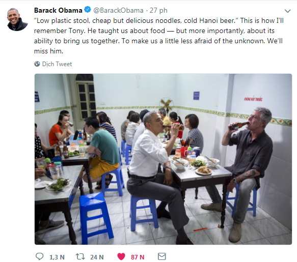 Cựu Tổng thống Obama tiếc thương cái chết của người cùng ăn bún chả Hà Nội