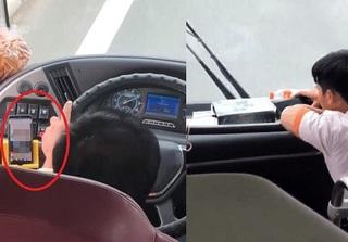 CLIP: Tài xế xe khách vừa lái vừa xem phim đen gây bức xúc