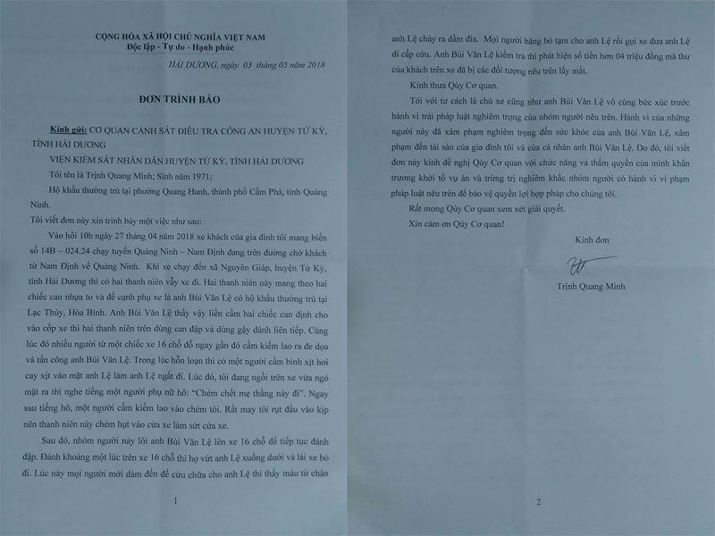 Hải Dương: Khởi tố vụ phụ xe khách bị hành hung, cắt gân chân2