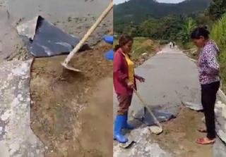 Yên Bái: Đường bê tông 'mỏng như bánh đa', dân bức xúc đào lên quay clip làm bằng chứng