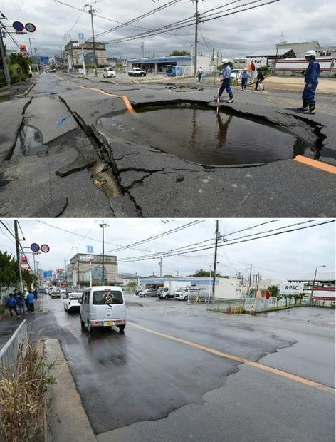 Đường sụt lún ở Nhật được khắc phục với tốc độ ánh sáng, chỉ một đêm lại như mới
