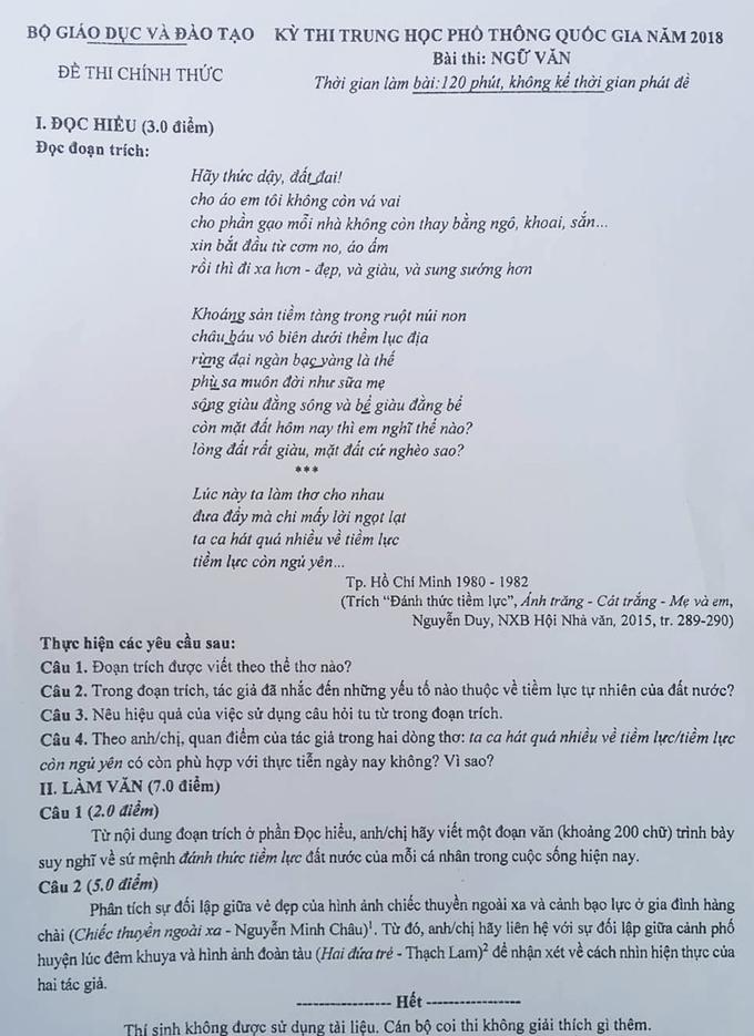 đề thi môn Ngữ văn, Phạm Gia Hiền