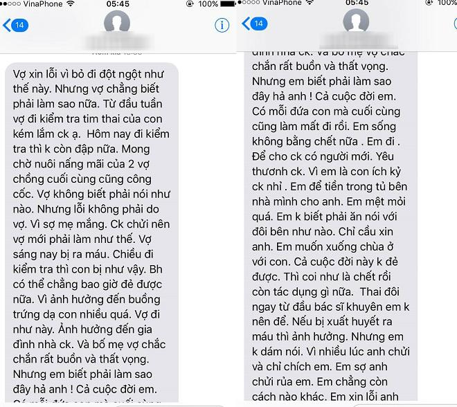 Tin nhắn vợ anh L. nhắn thông báo mất con