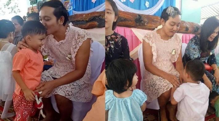 Bức ảnh rơi nước mắt mùa Vu Lan: Bố mặc váy hồng đến trường con trai2