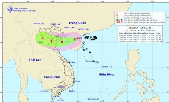 Thời tiết 16/8: Bão số 4 tiến vào vịnh Bắc Bộ