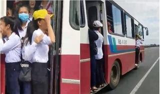 Clip: Người đi đường thót tim nhìn học sinh đu bám ở cửa lên xuống, tài xế 'giả mù, giả điếc'