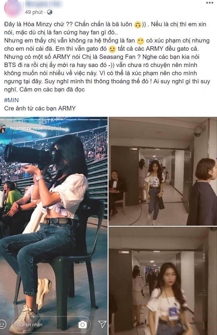 Hòa Minzy khóa Facebook, Hòa Minzy