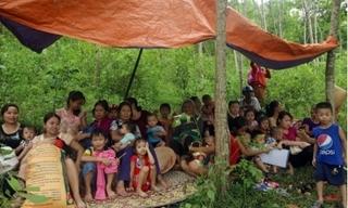 Thủy điện Bản Vẽ xả lũ, người dân nháo nhào sơ tán lên núi