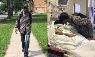 Cụ ông gần trăm tuổi vẫn đi bộ 10 km mỗi ngày đến chăm vợ ốm