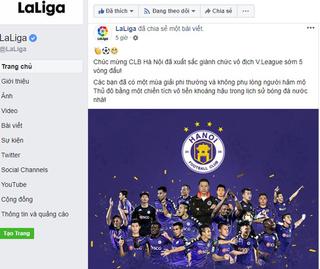 Vô địch V.League 2018, CLB Hà Nội nhận lời chúc từ La Liga