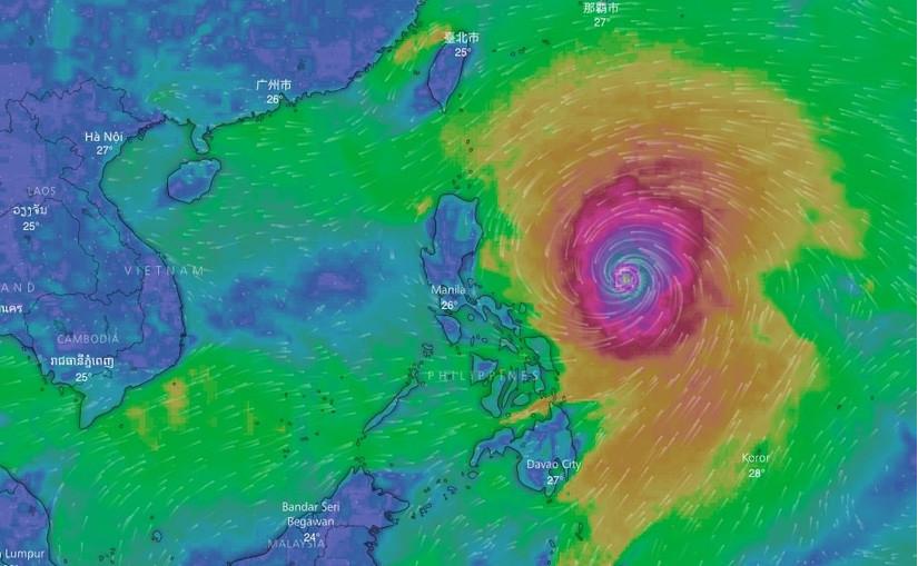 Siêu bão Mangkhut vào vịnh Bắc bộ với sức gió trên 200 km/h và đi qua Hà Nội