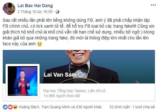Nhà báo Lại Văn Sâm bình luận dí dỏm khi chính thức chơi Facebook