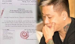 Dù cấp phép, Sở VH-TT Hà Nội không biết lý do liveshow của Tuấn Hưng bị dừng