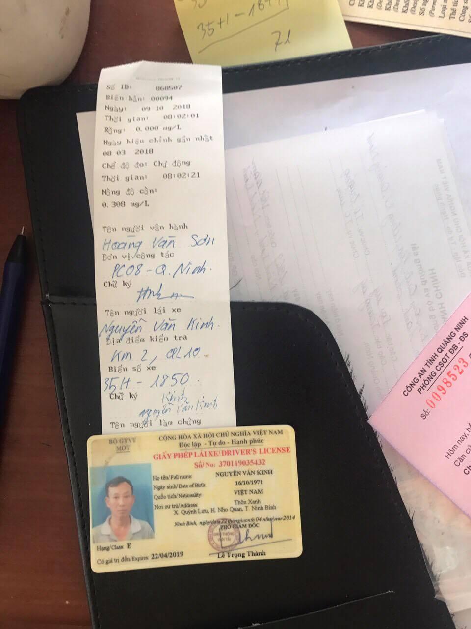 Giấy phép của một trong những lái xe vi pham