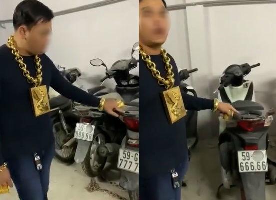 Choáng với người đàn ông đeo đầy vàng rao bán xe máy biển số cực khủng