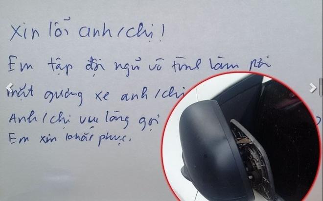 Chẳng may làm trầy xước trên xe ô tô, thủ phạm để lại lời nhắn láu cá2