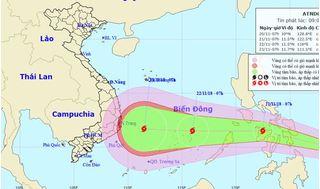 Gần Biển Đông xuất hiện áp thấp nhiệt đới, hướng có thể vào Nha Trang