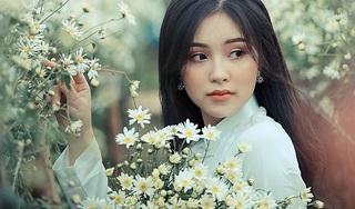 Thiếu nữ xinh đẹp e ấp bên cúc họa mi tinh khôi
