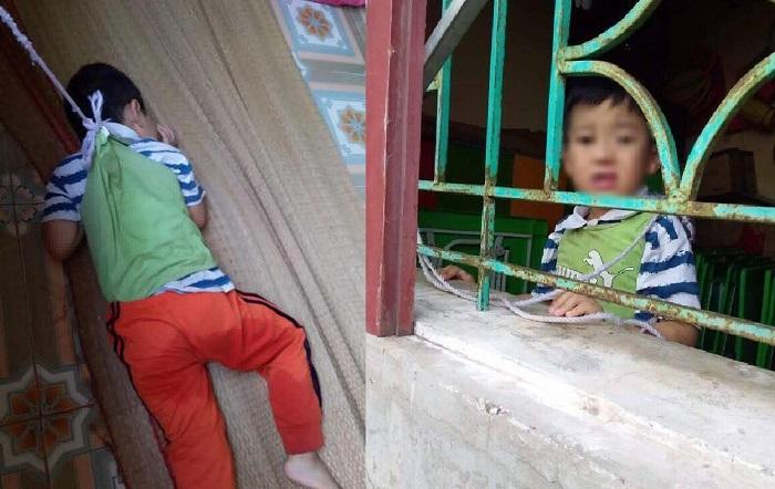 Bé 4 tuổi bị buộc ở trường mầm non B Trực Ninh Nam Định