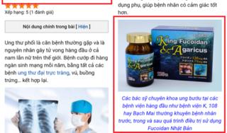 """Công ty CP Dược phẩm Cysina quảng cáo TPCN King Fucoidan & Agaricus như """"thần dược"""""""