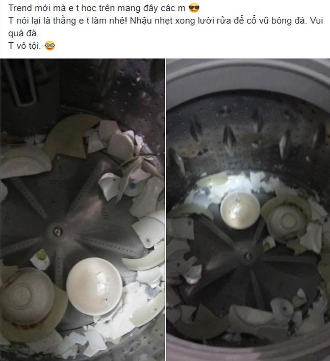 Clip: Chàng trai cho bát đũa vào máy giặt quay