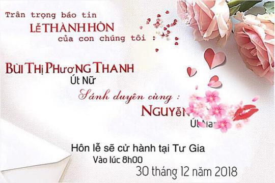 Phương Thanh bất ngờ hé lộ thiệp cưới của mình trên trang cá nhân.